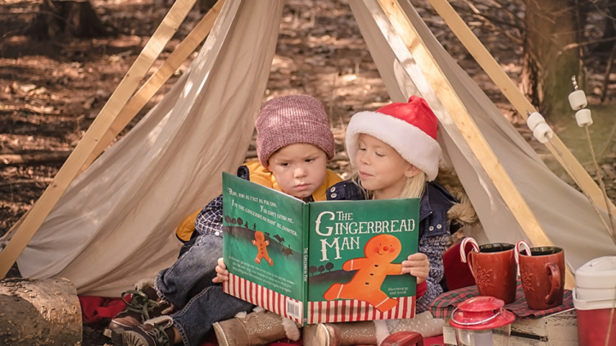 Christmas Campout themed mini session Rowlett TX